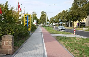 Sidewalk with bike path