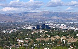 Woodland Hills, California in the foreground, including Warner Center, from the Top of Topanga Overlook