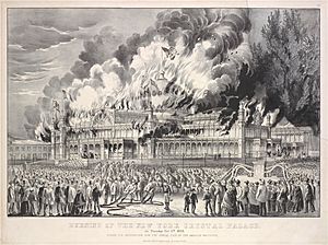 Burning of the New York Crystal Palace, on Tuesday Oct. 5th, 1858. During its occupation for the annual fair of the American Institute (NYPL Hades-1803461-1659236)