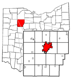 Findlay's position within Hancock County (foreground) and Ohio (background)