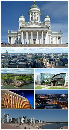 Clockwise from top: Helsinki Cathedral, view of central Helsinki, Headquarters of Sanoma, Helsinki city centre at night, beaches at Aurinkolahti, Parliament House and Suomenlinna.
