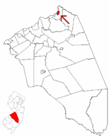 The City of Bordentown highlighted in Burlington County. Inset map: Burlington County highlighted in the State of New Jersey.