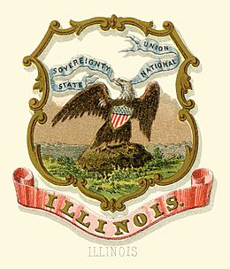 Illinois state coat of arms (illustrated, 1876)