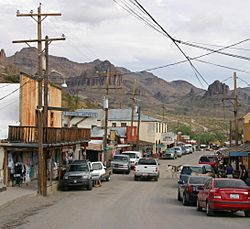 Oatman Highway/Old US 66. The Oatman Hotel is the adobe building center left.