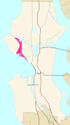 Map of Interbay's location in Seattle