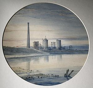 Bell Ironworks at Port Clarence Teesside watercolour by John Bell (1814-1886)