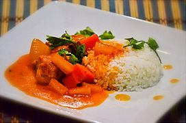 Chicken Afritada on white rice with pineapple tidbits (Philippines) 2
