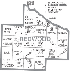 Map of Redwood County Minnesota With Municipal and Township Labels
