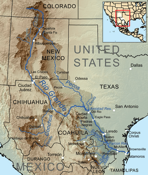 Map of the Rio Grande watershed, showing the Rio Puerco joining the Rio Grande near Albuquerque.