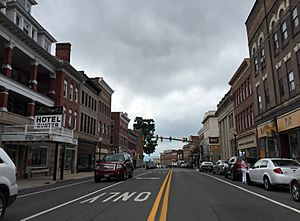 2016-06-25 10 05 47 View east along U.S. Route 40 Alternate and south along Maryland State Route 36 (Main Street) between Water Street and Broadway in Frostburg, Allegany County, Maryland