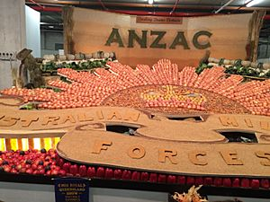 ANZAC centenary commemorative display of fruit and vegetables from the Darling Downs, at Ekka, Brisbane, 2015