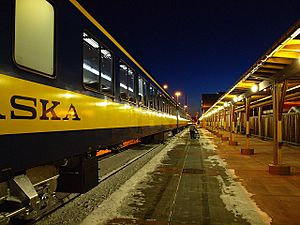 Alaska Railroad train arrives at Fairbanks station