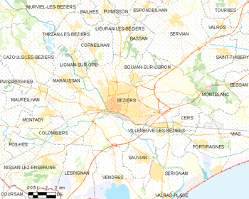 Map of the commune of Béziers