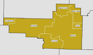 Map of Hot Spring County School Districts