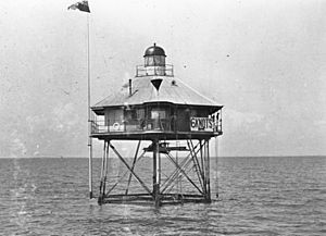 StateLibQld 1 68019 Pile Lights at the mouth of the Brisbane River, Moreton Bay, ca. 1912