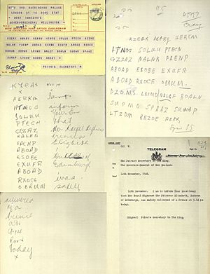 Telegram announcing the birth of Prince Charles