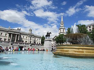 Trafalgar square fountain, June 7 2014