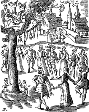 Village Feast Fac simile of a Woodcut of the Sandrin ou Verd Galant facetious Work of the End of the Sixteenth Century edition of 1609