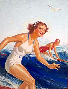 'Two Surfer Girls' by William Fulton Soare, oil on canvas, c. 1935