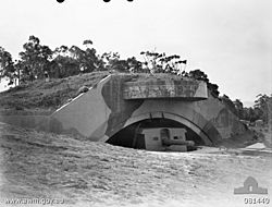 Black and white photograph of a concrete fortification