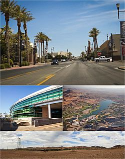 Clockwise from top: Water Street Historic District of Downtown Henderson, aerial view of Lake Las Vegas, Foothills near Henderson, Henderson City Hall