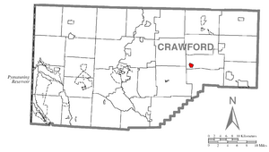 Location of Townville in Crawford County