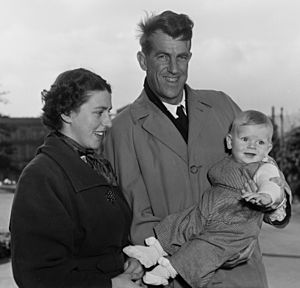 Sir Edmund and Lady Louise Hillary with their son Peter, 1955