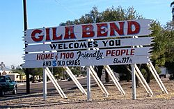 A humorous, numerically outdated sign welcomes people to Gila Bend, Arizona.
