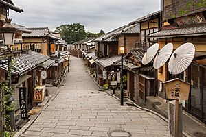 Pedestrian road with pavements and paper umbrellas, Higashiyama-ku, Kyoto, Japan, early morning