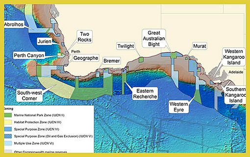 South-west Commonwealth Marine Reserves Network map