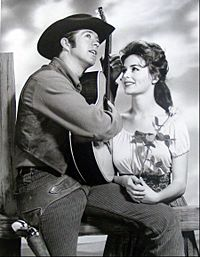 Gulager as Billy the Kid with Marianna Hill as his sweetheart, Rita from the television program The Tall Man.