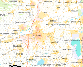 Map of the commune of Perpignan