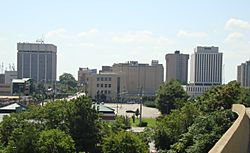 The downtown Newport News skyline as seen from 26th Street and I-664 overpass in August 2013