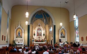 Holy Family Catholic Church (Oldenburg, Indiana) - interior, nave before a wedding Mass