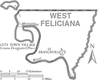Map of West Feliciana Parish Louisiana With Municipal Labels