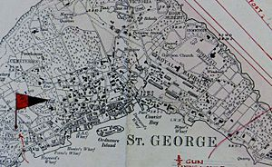 St George's Town and St George's Garrison , Bermuda OS Map Lieut AJ Savage 1901