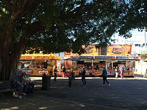 Food stalls from under the spreading trees, Ekka, Brisbane, 2015