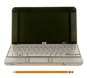 HP 2133 Mini-Note PC (front view compare with pencil)