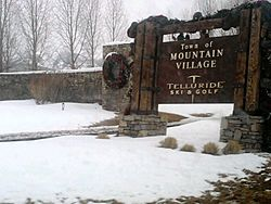Welcome Sign to Mountain Village