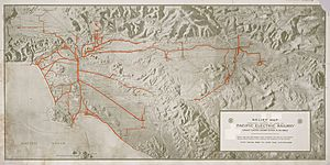 Relief map Pacific Electric Railway