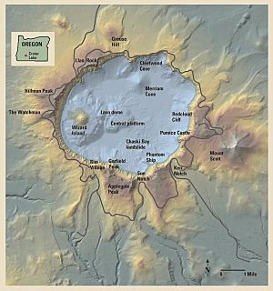 Relief map of Crater Lake area