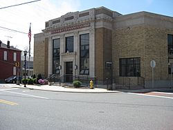 The historic bank building in Rising Sun
