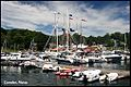 Boats at dock in Camden, Maine