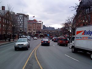 Harvard Square at Peabody Street and Mass Avenue