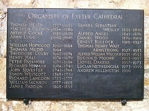 List of the organists of Exeter Cathedral