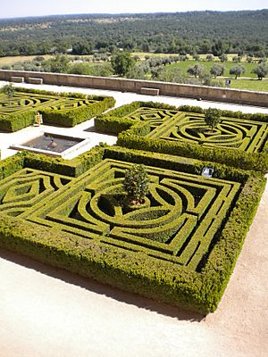 Monastery El Escorial Spain Gardens Old Style Cut Into A Maze Pattern for Walking