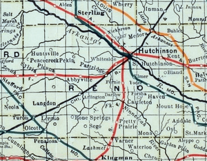 Stouffer's Railroad Map of Kansas 1915-1918 Reno County