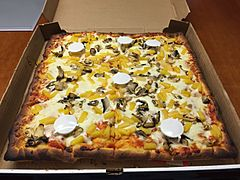 2017-11-13 13 56 02 Sicilian pizza with mushrooms and pineapple from Buon Appetito's NY Pizza in Dulles, Loudoun County, Virginia