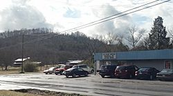 Heiskell post office and farm scene.