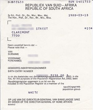 Population registration certificate South Africa 1988
